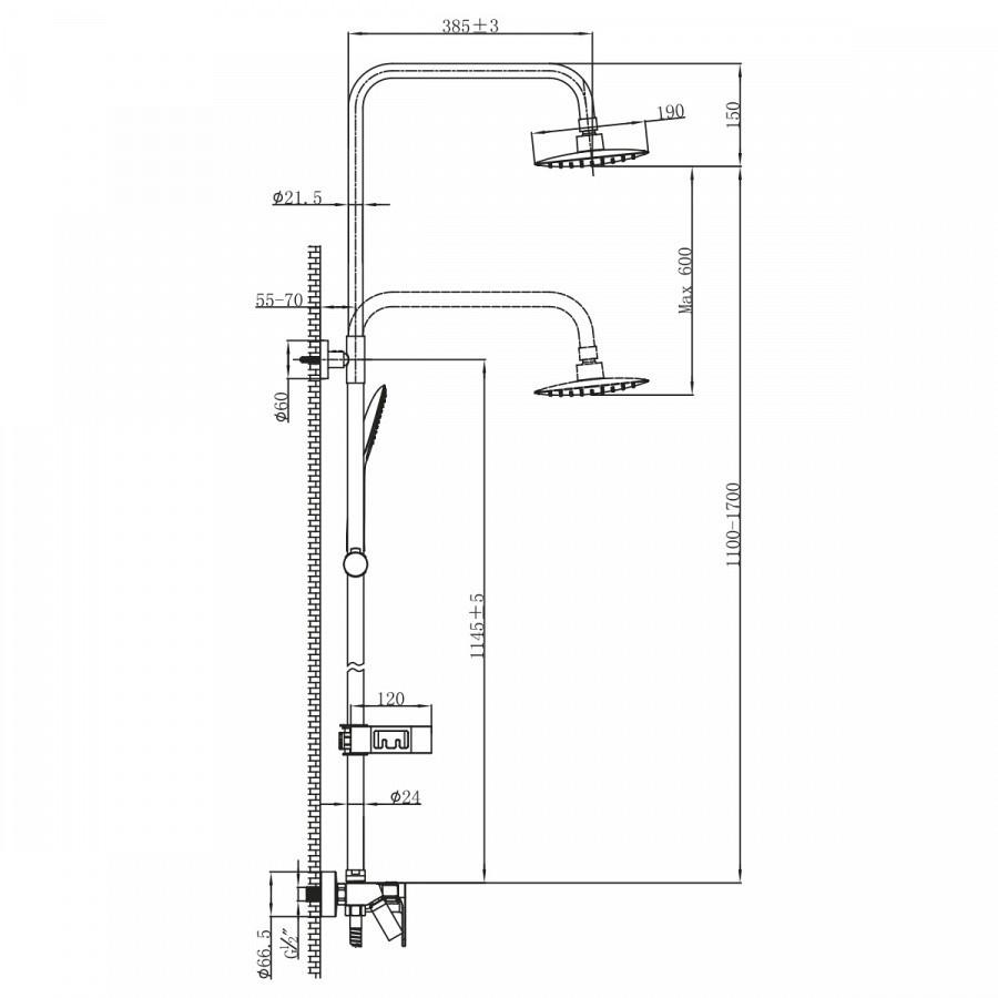 Смеситель для ванны и душа Lemark Tropic LM7002BL