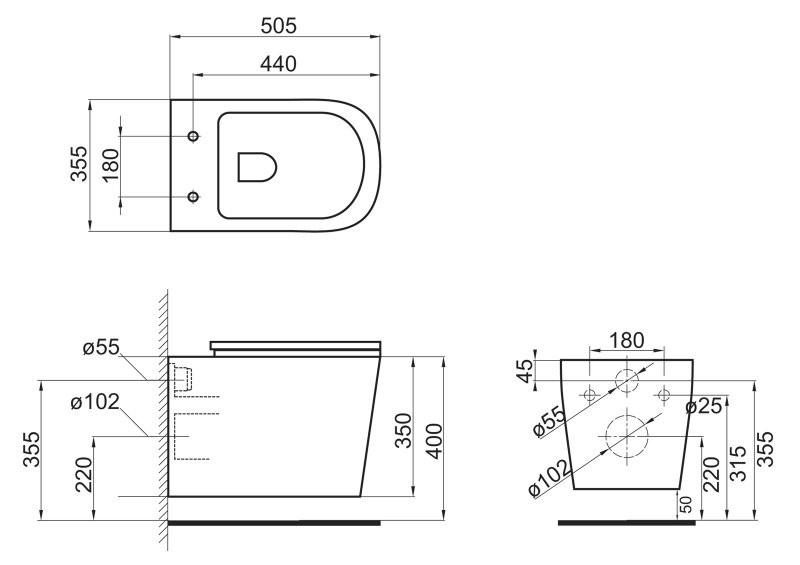 Унитаз подвесной BelBagno Veneto безободковый с сиденьем-микролифт