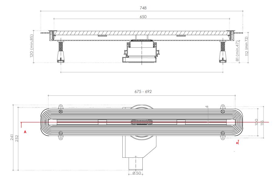 Душевой лоток Pestan Confluo Slim Line 650