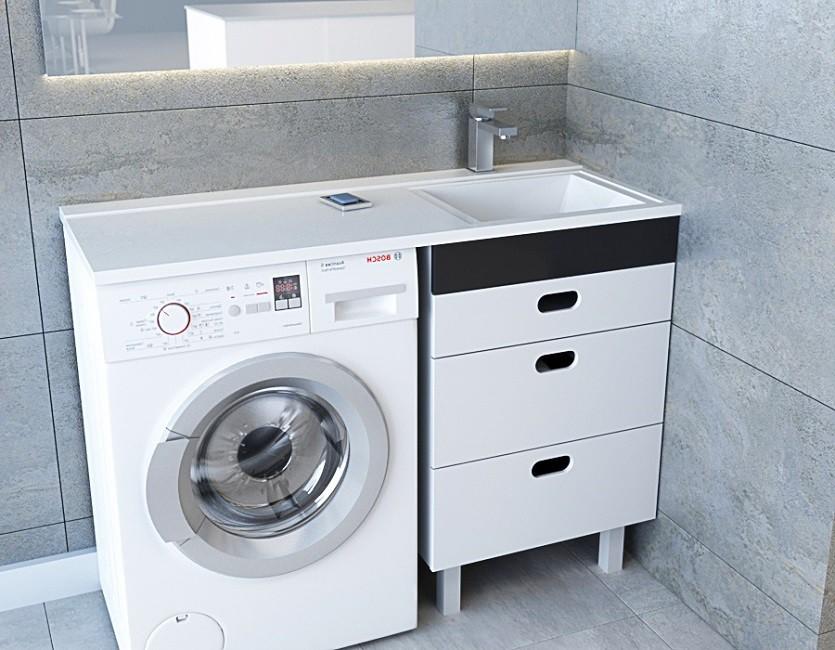 Раковина под стиральную машину Andrea Cosmos Правая (отверстие под смеситель) 1200х480 мм