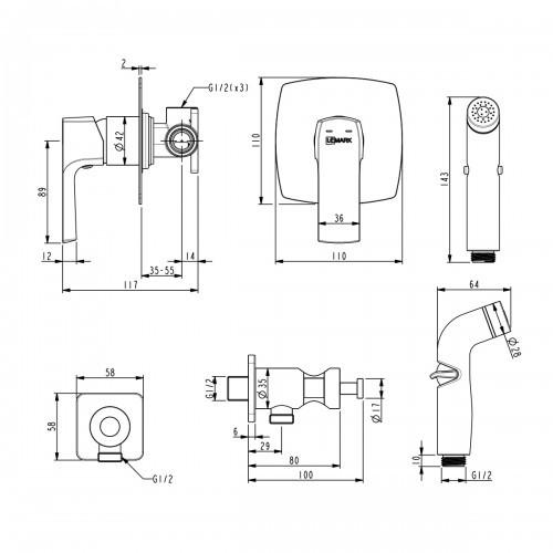 Гигиенический душ Lemark Ursus со смесителем LM7219BL