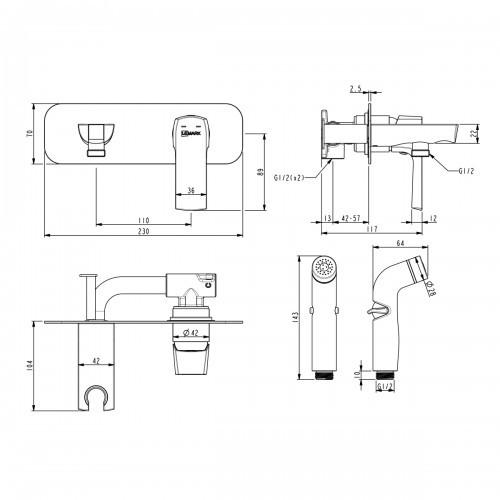 Гигиенический душ Lemark Ursus со смесителем LM7220BL