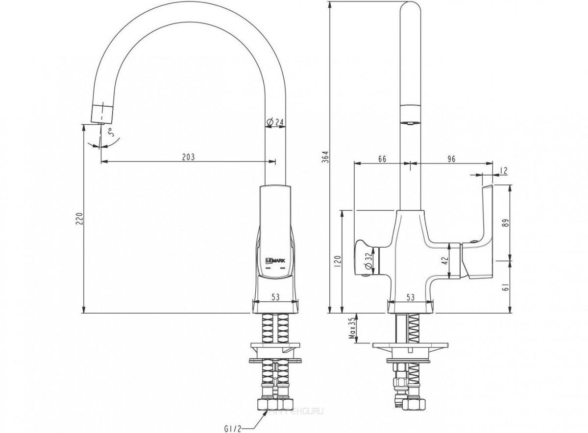Смеситель для кухни Lemark Ursus с подключением к фильтру с питьевой водой черный с золотом