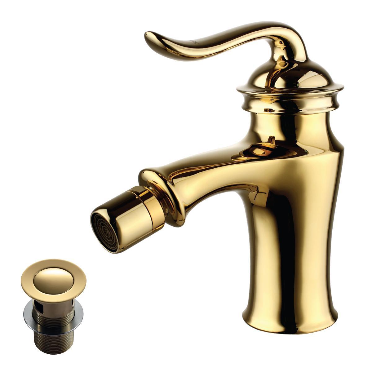 Смеситель для биде Lemark Brava с донным клапаном, золото