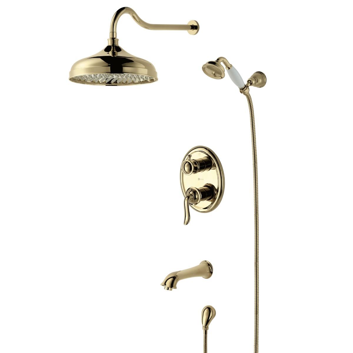 Смеситель для ванны и душа Lemark Brava с изливом встраиваемый, золото