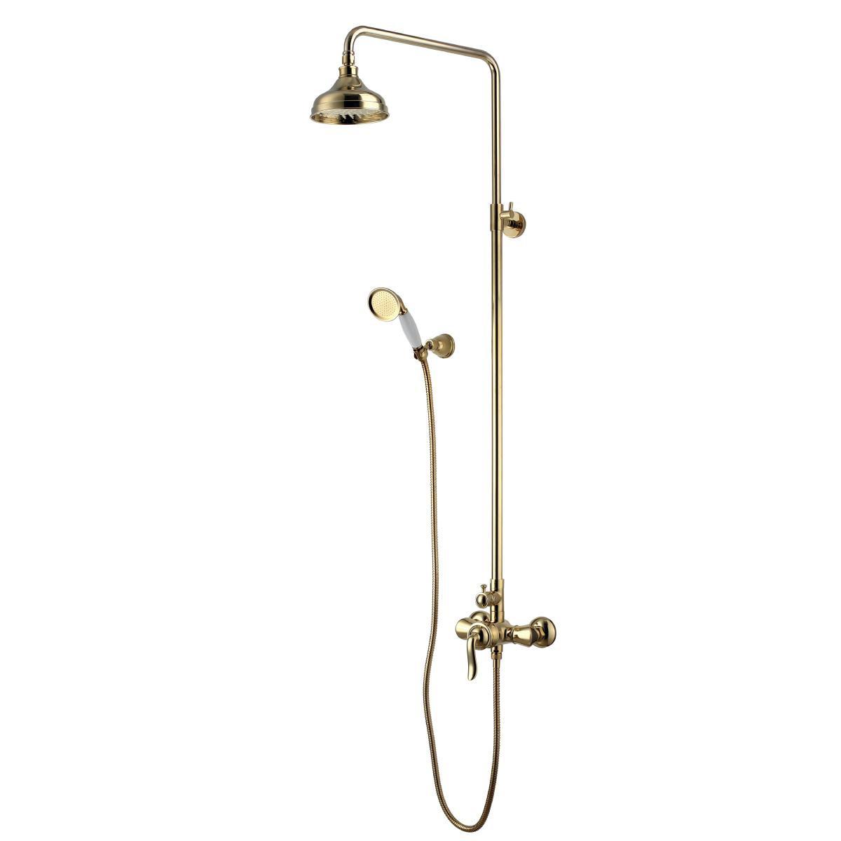 Душевая стойка Lemark Brava с верхним душем, золото
