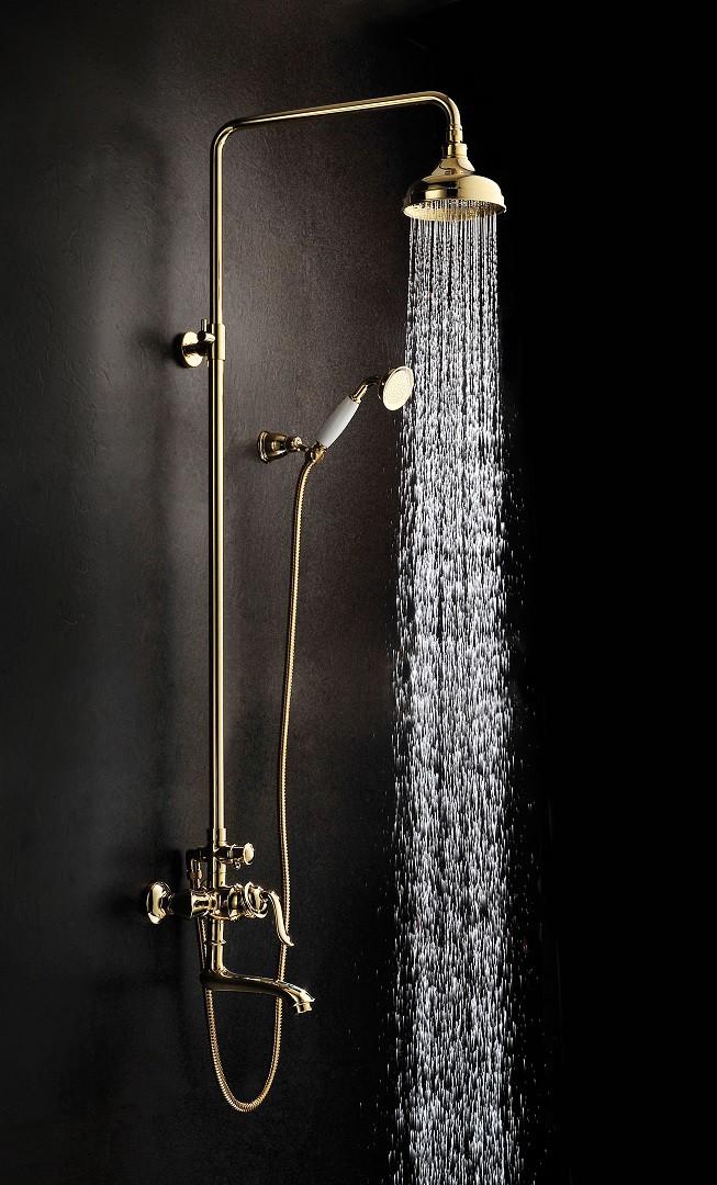 Душевая стойка Lemark Brava с верхним душем и поворотным изливом, золото