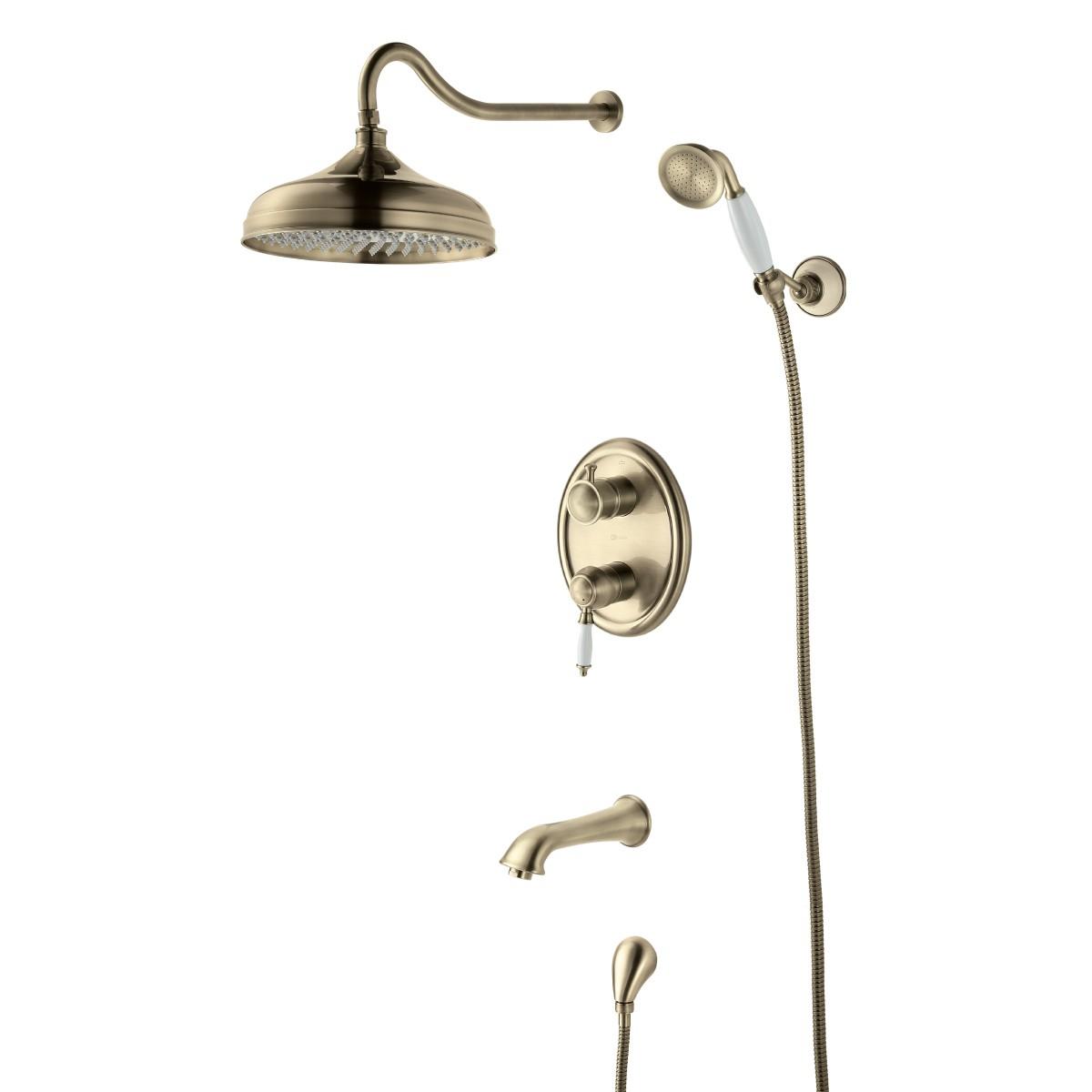 Смеситель для ванны и душа Lemark Villa с изливом встраиваемый, бронза
