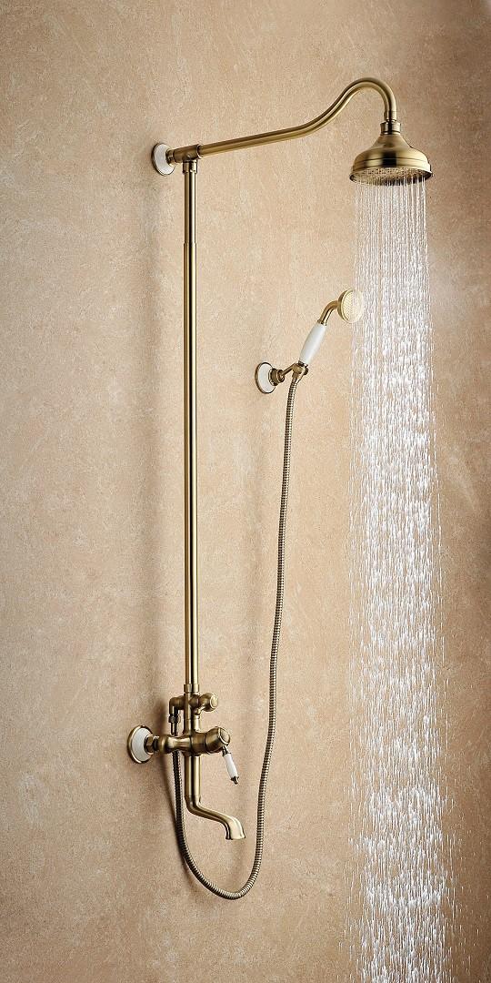 Душевая стойка Lemark Villa с верхним душем и поворотным изливом, бронза