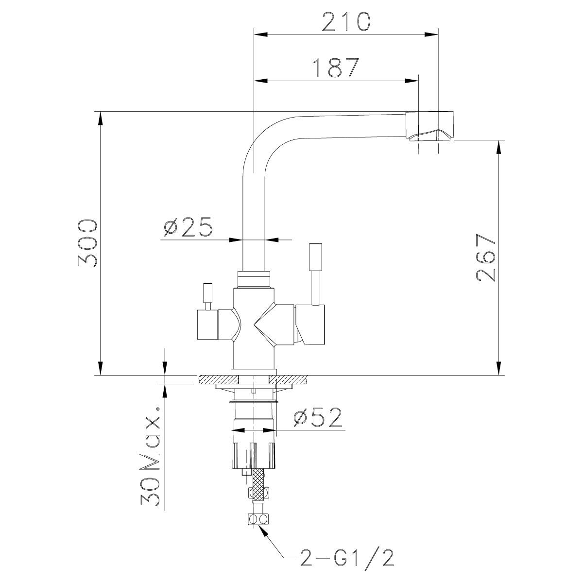 Смеситель для кухни Lemark Expert с подключением к фильтру питьевой воды, сталь