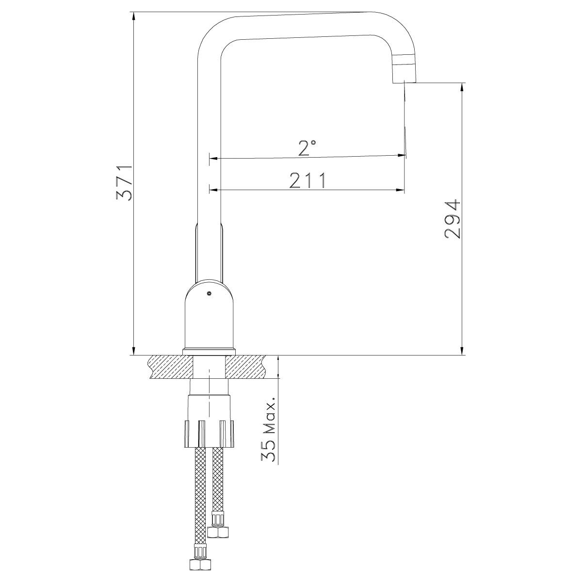 Смеситель для кухни Lemark Expert LM5073S с высоким поворотным изливом, сталь