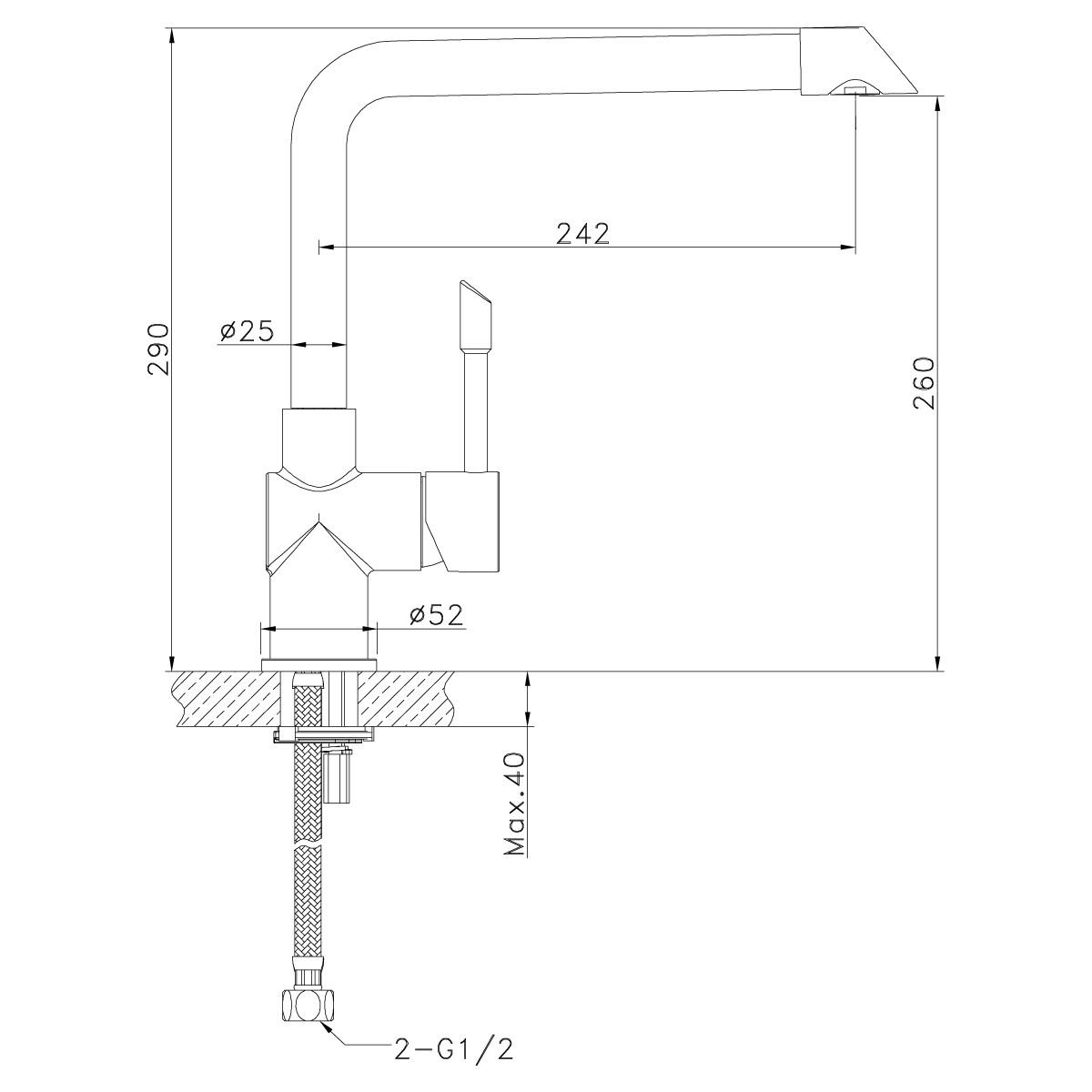 Смеситель для кухни Lemark Expert LM5074S с высоким поворотным изливом, сталь