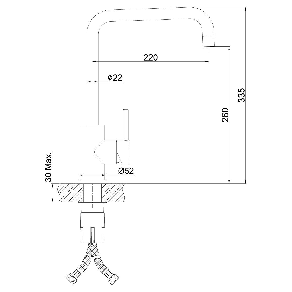 Смеситель для кухни Lemark Expert LM5077S с высоким поворотным изливом, сталь