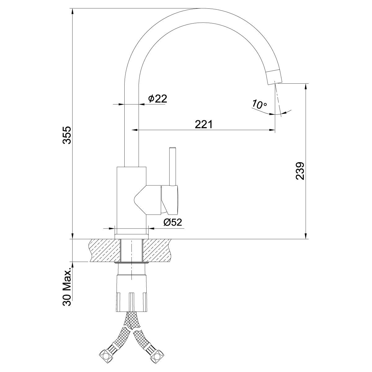 Смеситель для кухни Lemark Expert LM5078S с высоким поворотным изливом, сталь