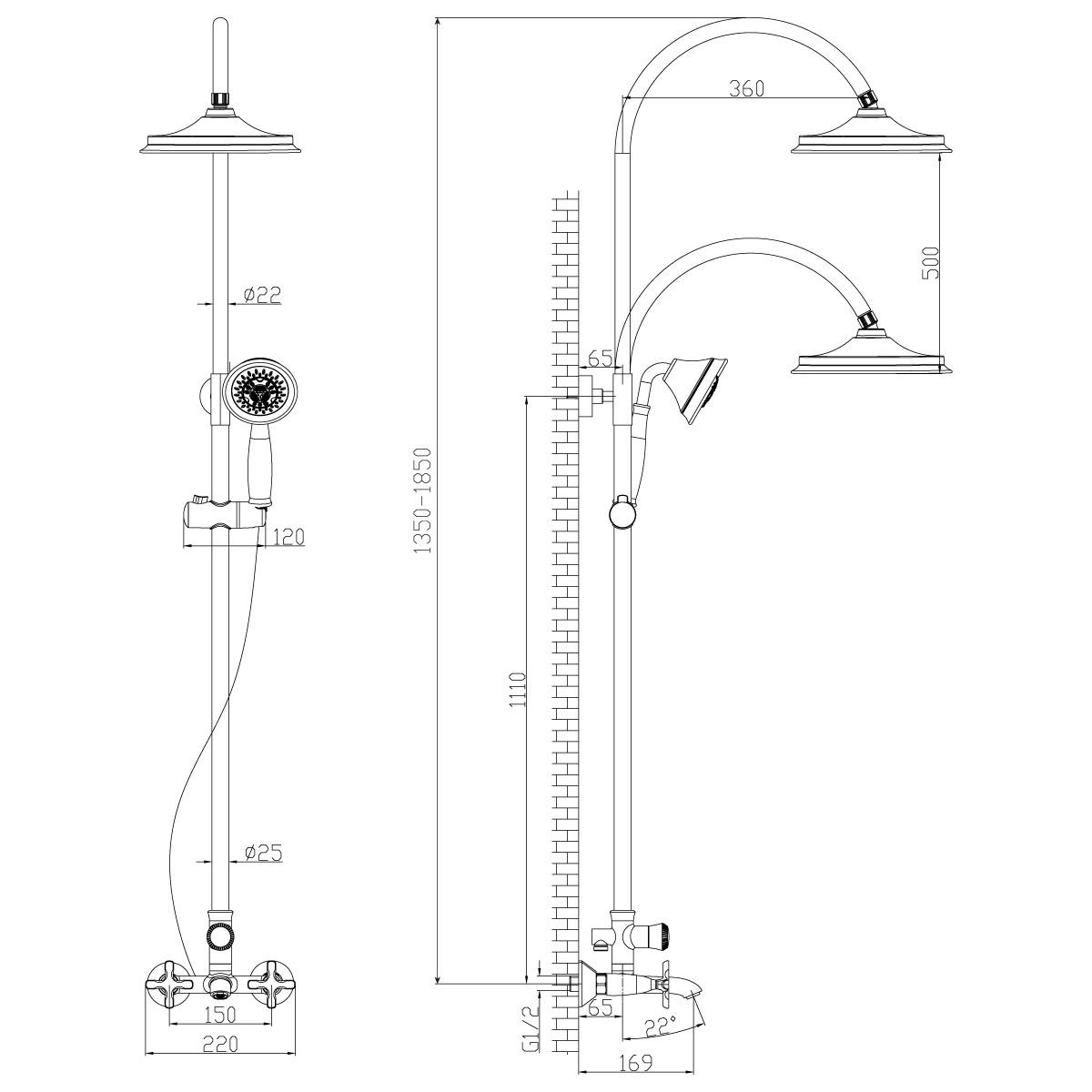 Душевая стойка Lemark Duetto с верхним душем и изливом