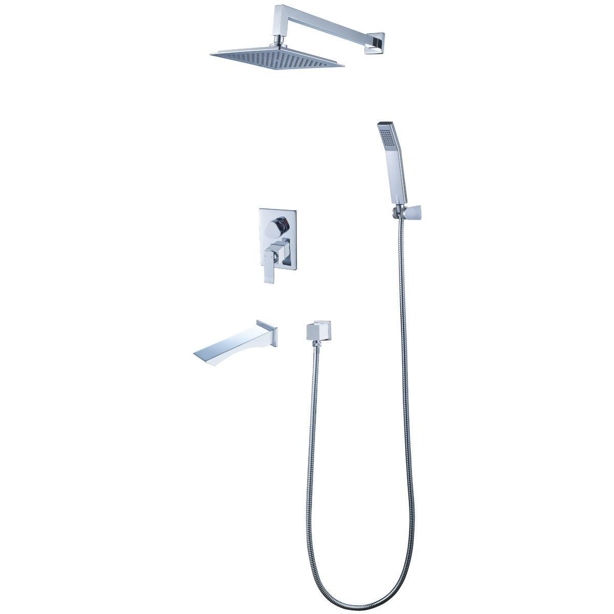 Смеситель для ванны и душа Lemark Contest с изливом встраиваемый, хром/белый