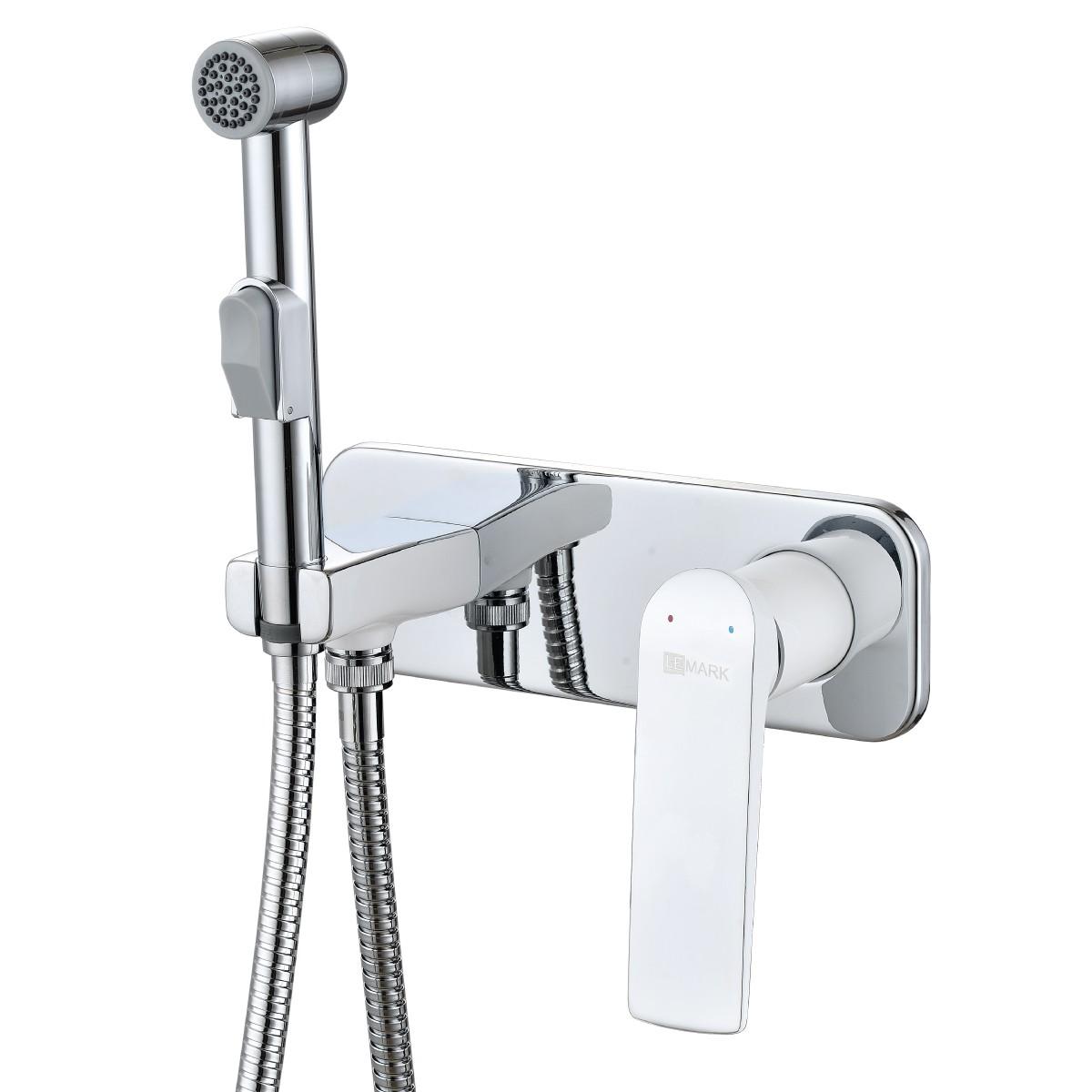 Смеситель с гигиеническим душем Lemark Allegro встраиваемый, хром/белый