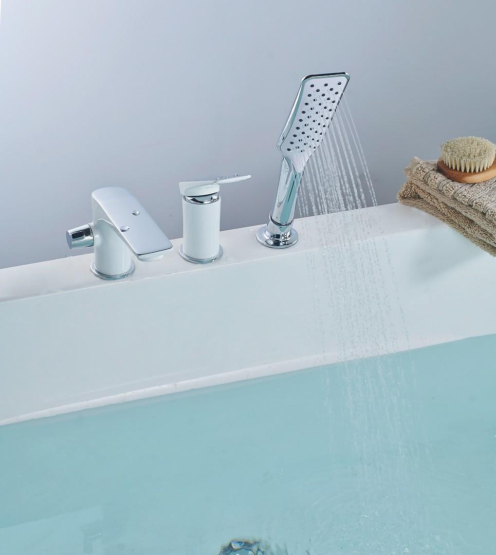 Смеситель на борт ванны Lemark Allegro на 3 отверстия, хром/белый