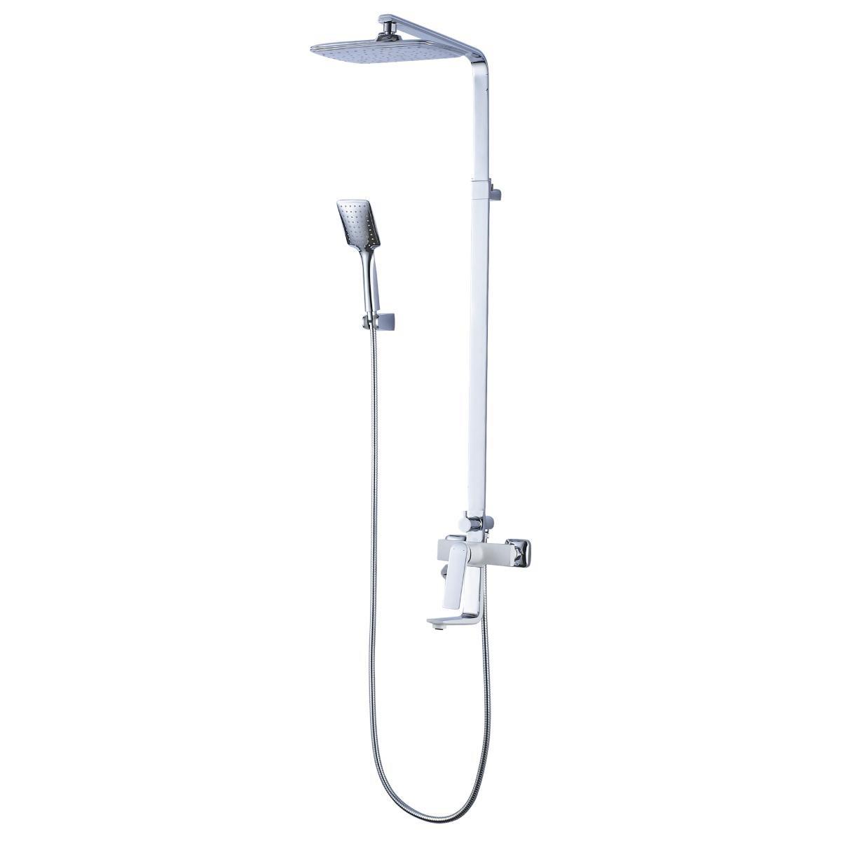 Душевая стойка Lemark Allegrot с верхним душем и изливом, хром/белый