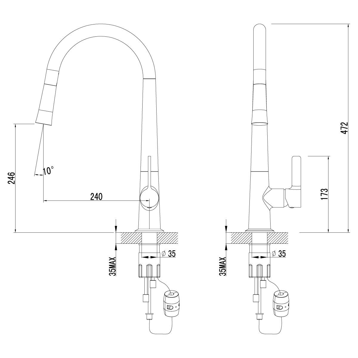Смеситель для кухни Lemark Soul LM6001C с вытяжным изливом