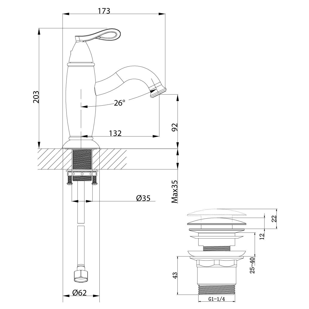 Смеситель для умывальника Lemark Prime с донным клапаном, черный/розовое золото