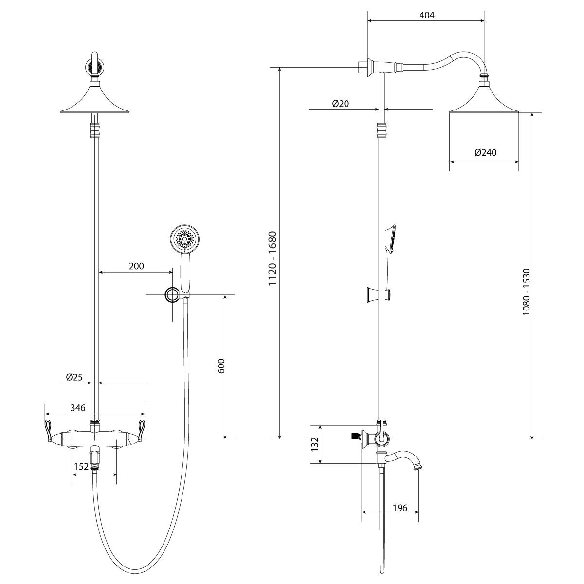 Душевая стойка Lemark Prime с верхним душем и поворотным изливом, черный/розовое золото