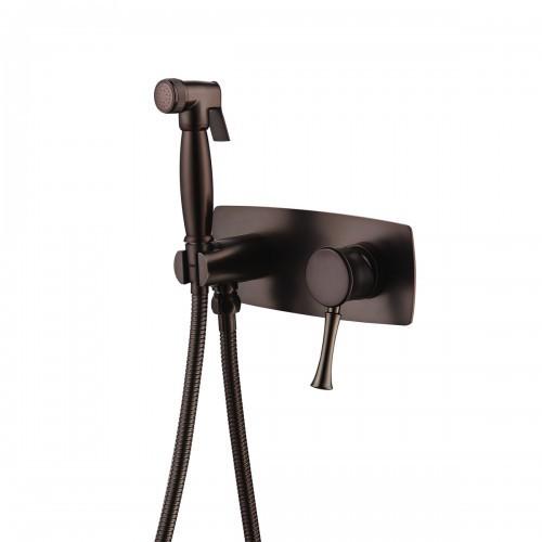 Смеситель с гигиеническим душем Lemark Peretto встраиваемый, цвет черный кофе