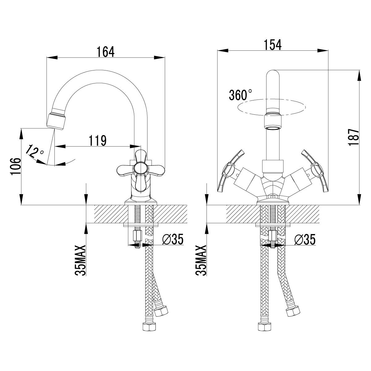 Смеситель для умывальника Lemark Partner двуручный с поворотным изливом