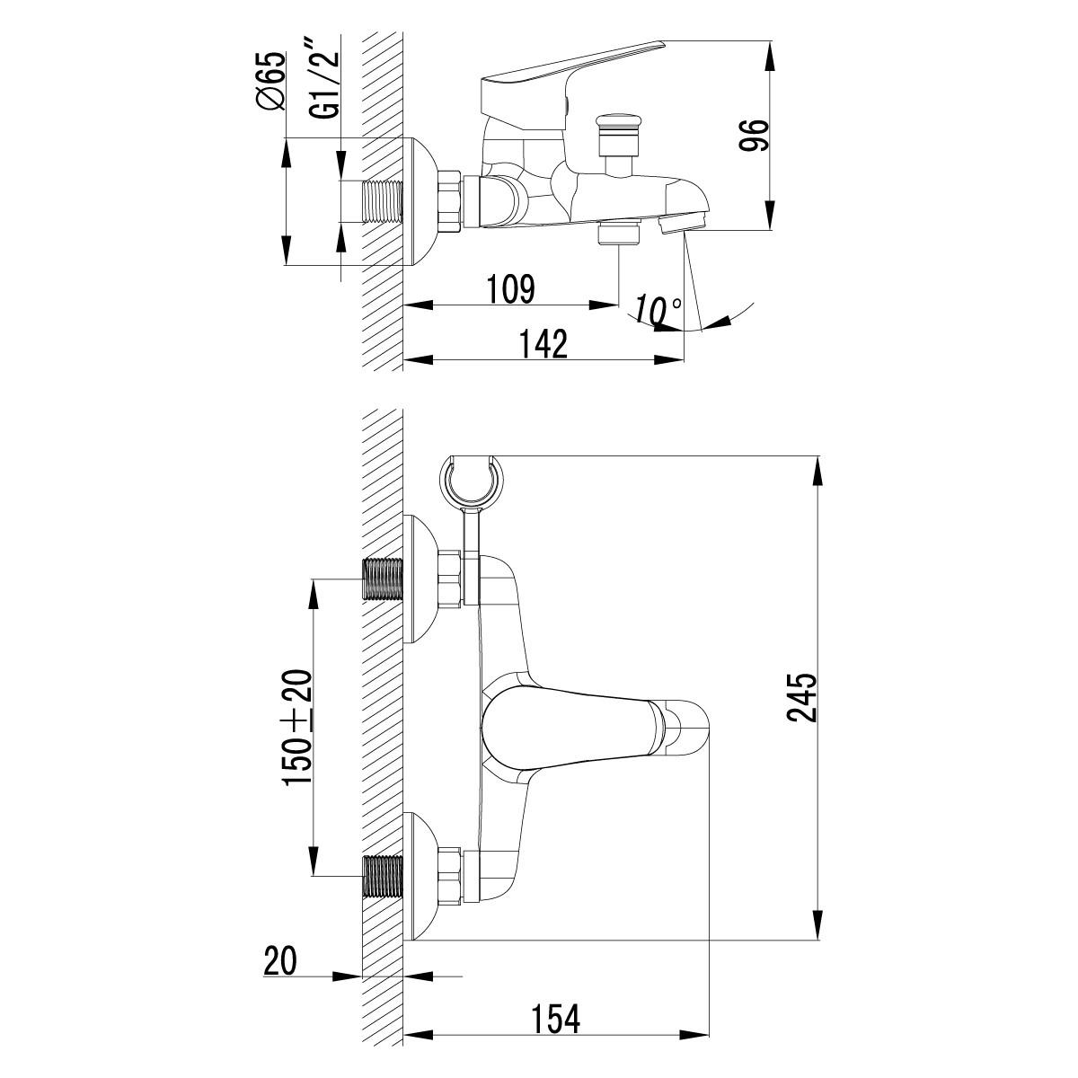 Смеситель для ванны и душа Lemark Partner одноручный с коротким изливом