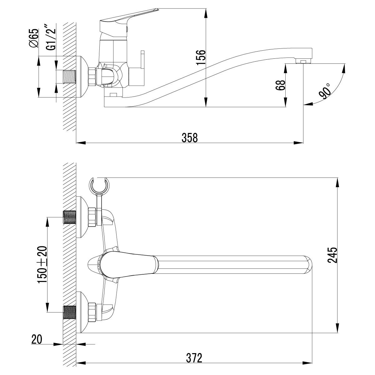 Смеситель для ванны и душа Lemark Partner LM6553C с поворотным изливом 300 мм