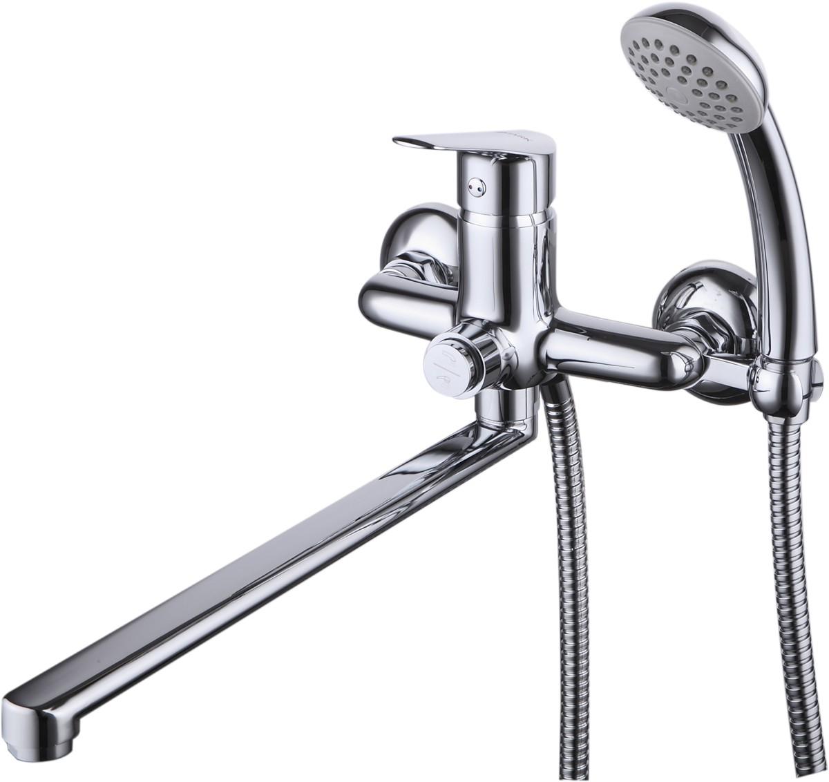 Смеситель для ванны и душа Lemark Partner с кнопочным переключателем