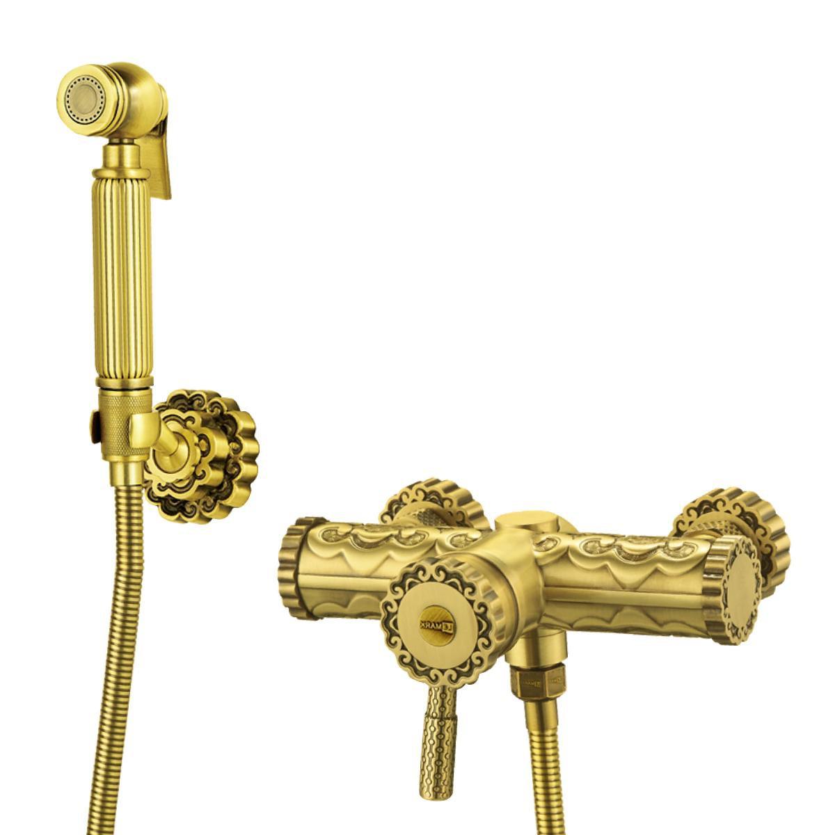 Смеситель с гигиеническим душем Lemark Jasmine настенный, бронза