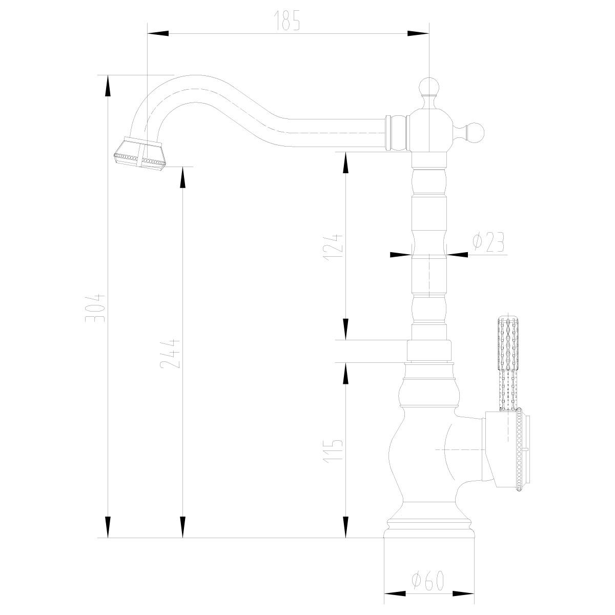 Смеситель для кухни Lemark Jasmine LM6645B с высоким поворотным изливом, бронза