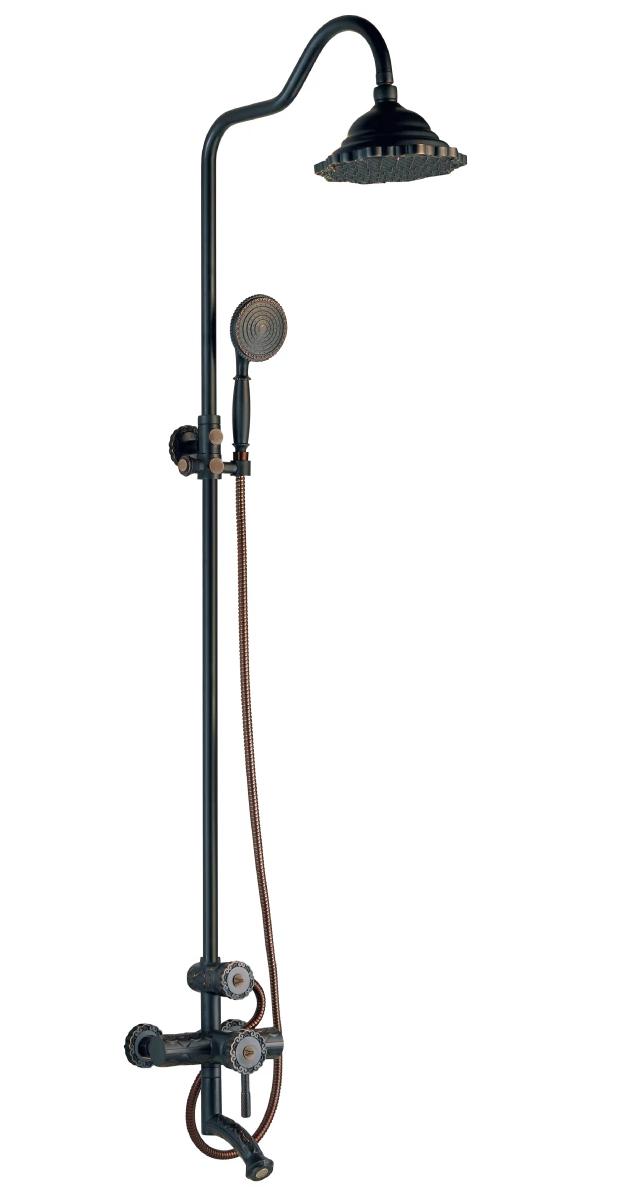 Душевая стойка Lemark Jasmine с верхним душем и поворотным изливом, черная бронза