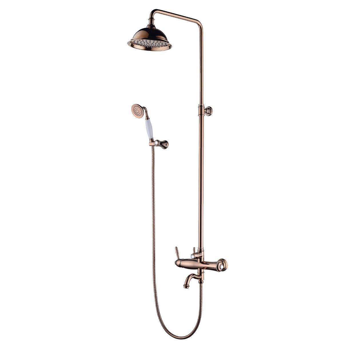 Душевая стойка Lemark Spark с верхним душем и поворотным изливом, розовое золото