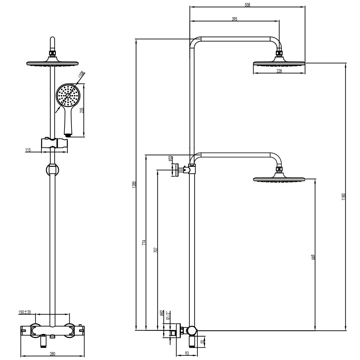 Душевая стойка Lemark Tropic термостатическая с верхним душем и поворотным изливом LM7010C
