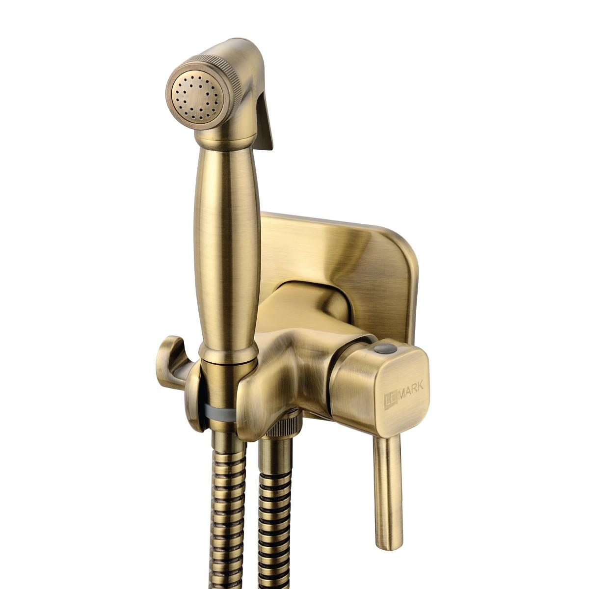 Гигиенический душ Lemark Solo со смесителем встраиваемый, бронза