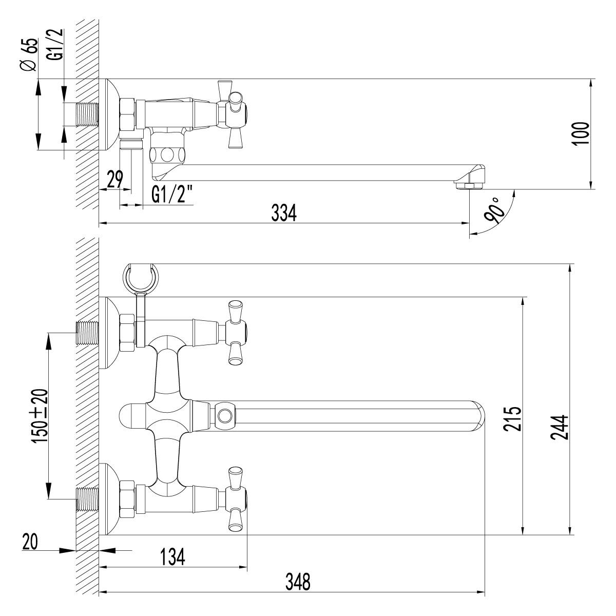 Смеситель для ванны Lemark Contour LM7451C с поворотным изливом 300 мм