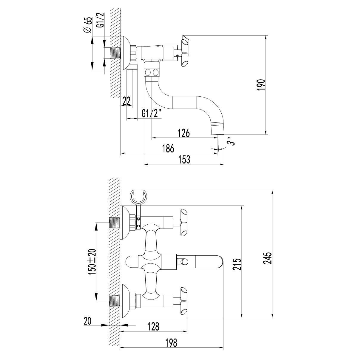 Смеситель для ванны Lemark Practica с коротким поворотным изливом 150 мм