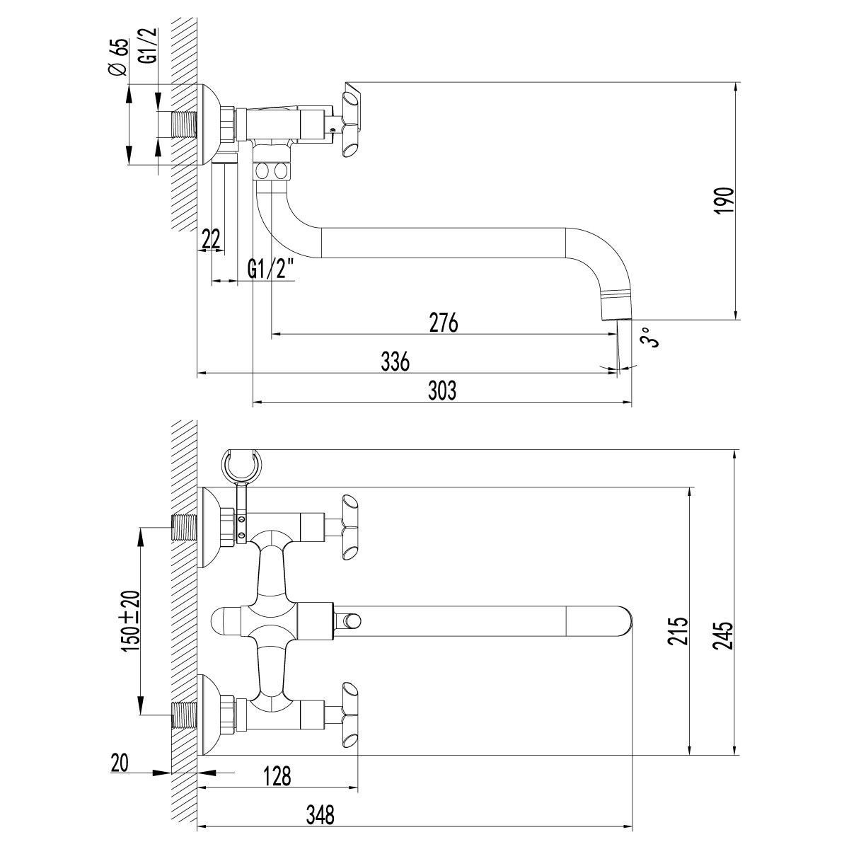Смеситель для ванны Lemark Contour LM7551C с поворотным изливом 300 мм