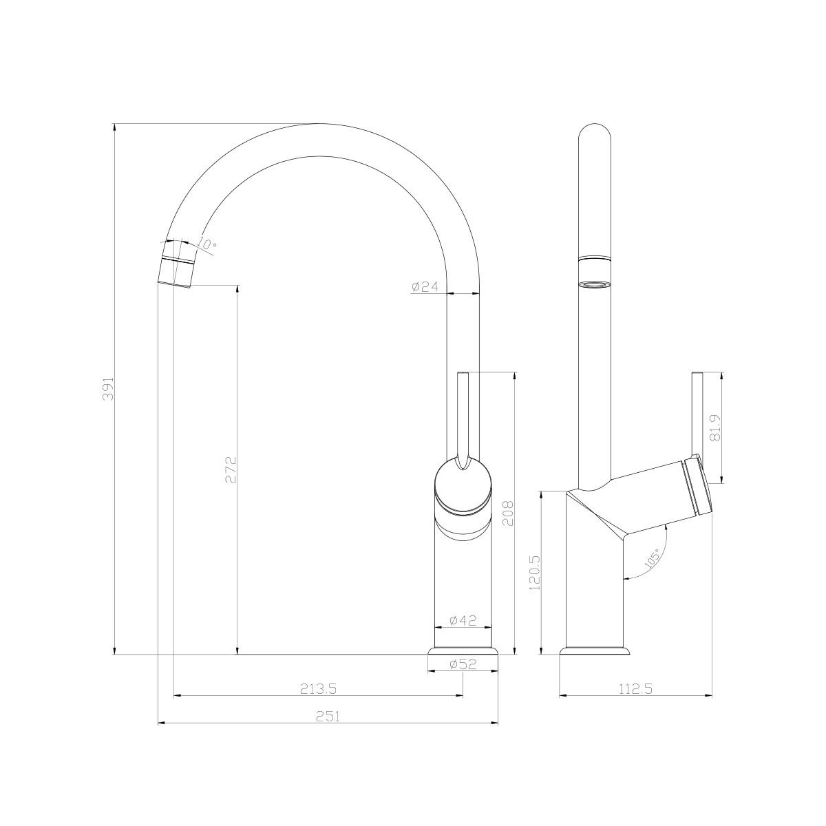 Смеситель для кухни Lemark Minima с высоким поворотным изливом