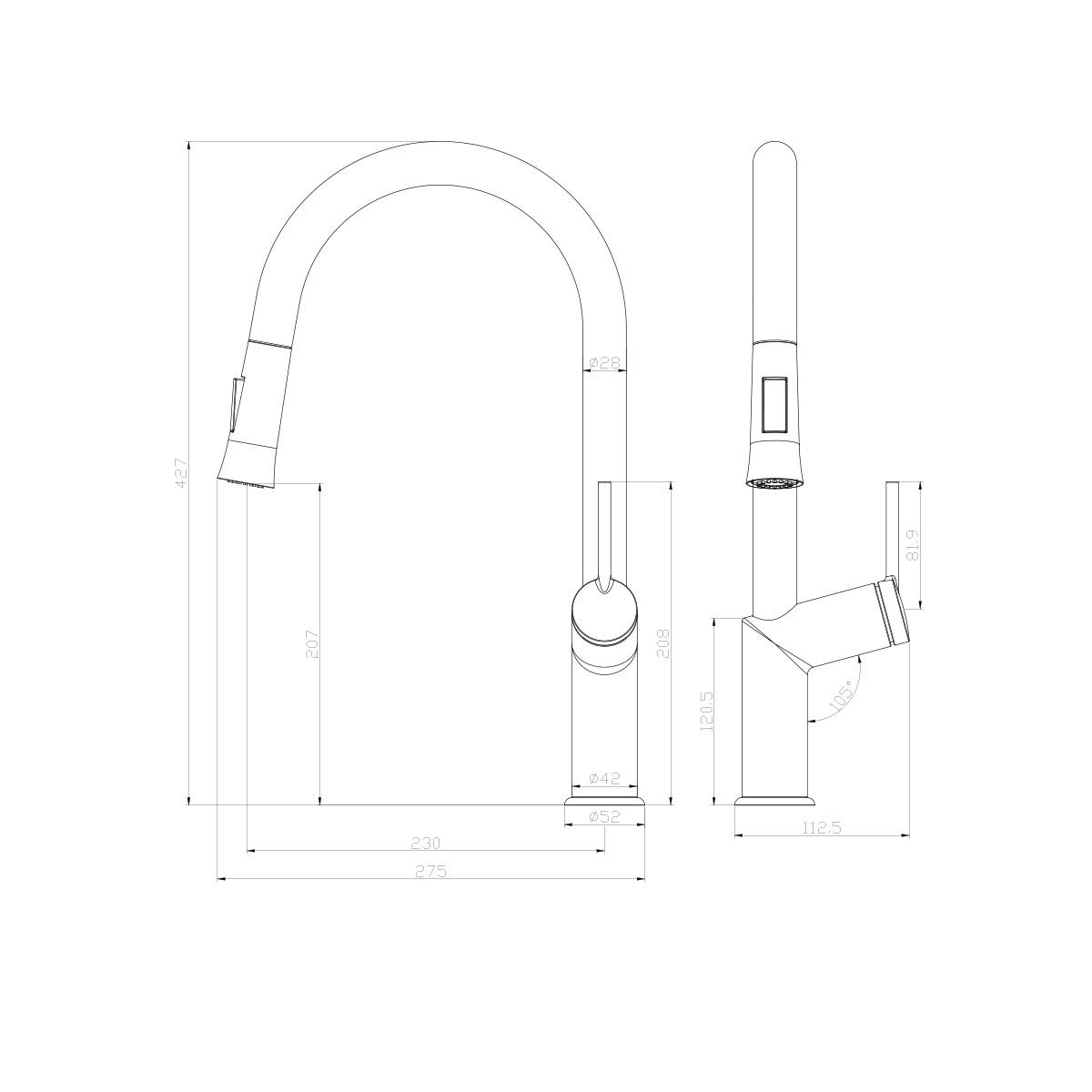 Смеситель для кухни Lemark Minima LM3850C с вытяжным изливом