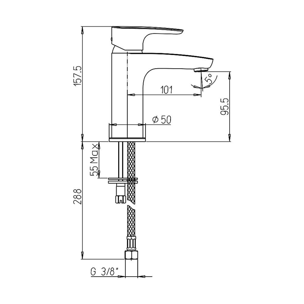 Paini Parallel 47CR205LMKM смеситель для раковины