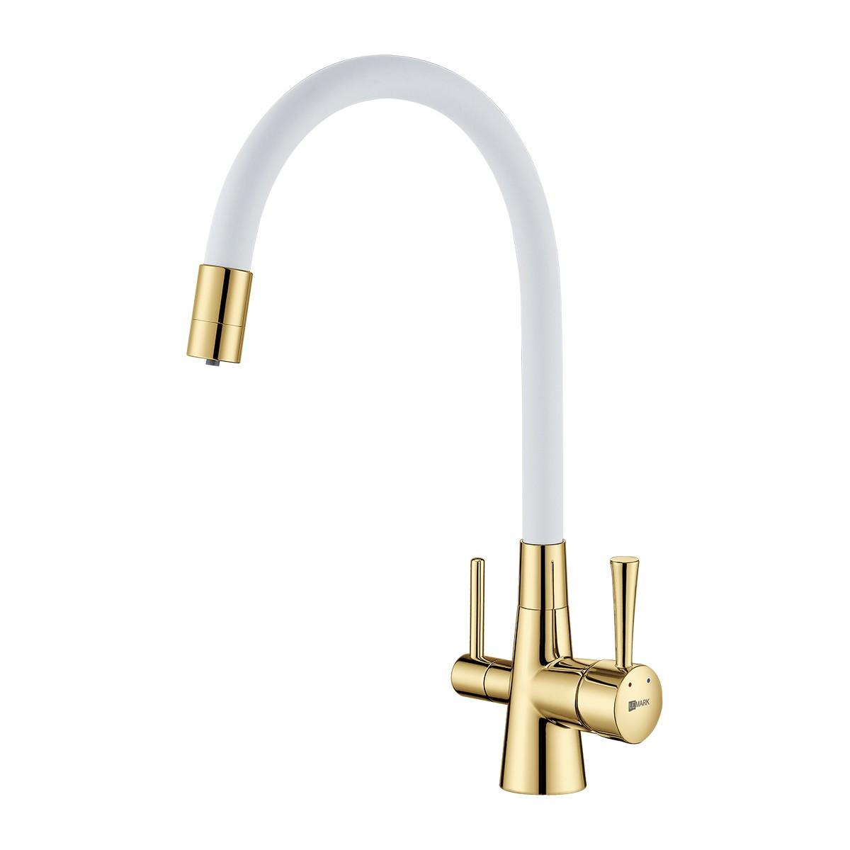 Смеситель для кухни Lemark Comfort LM3075G-White золотой с подключением к фильтру с питьевой водой с белым гибким изливом