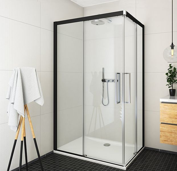 ECS2L+ECS2P Квадратный душевой уголок с двойными раздвижными дверями 100*100*205 black elox/transparent/6mm