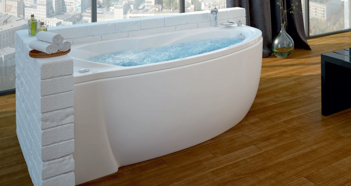 Акриловая ванна Акватек Бетта 170х97 левая на каркасе со сливом-переливом