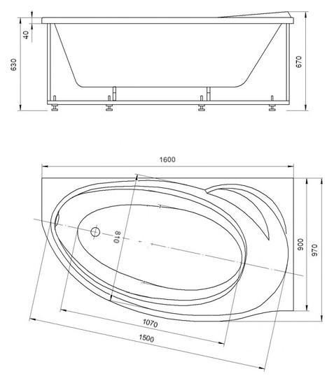 Акриловая ванна Акватек Бетта 160х97 правая на каркасе со сливом-переливом