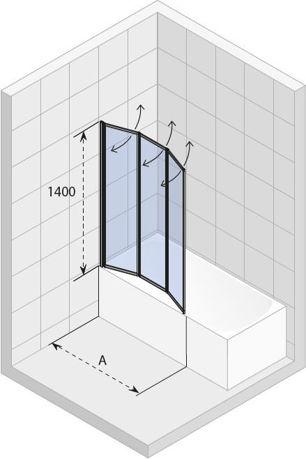 Шторка на ванну RIHO ALTA VZ 1000х1400 сатин/прозрачное/4мм