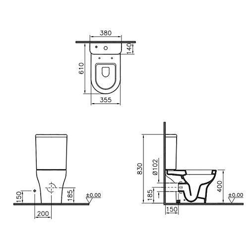 Комплект унитаза Vitra Zentrum Open-back с сиденьем микролифт, механизм смыва Geberit