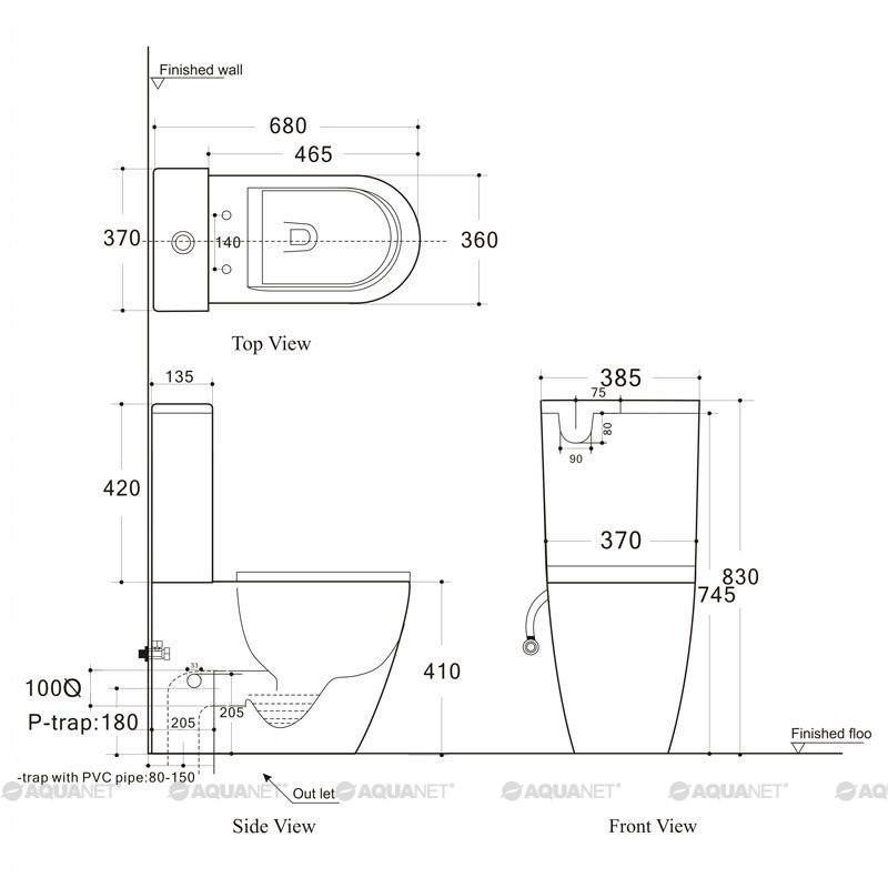 Унитаз-компакт напольный безободковый Aquanet Cetus с сиденьем Soft-Close